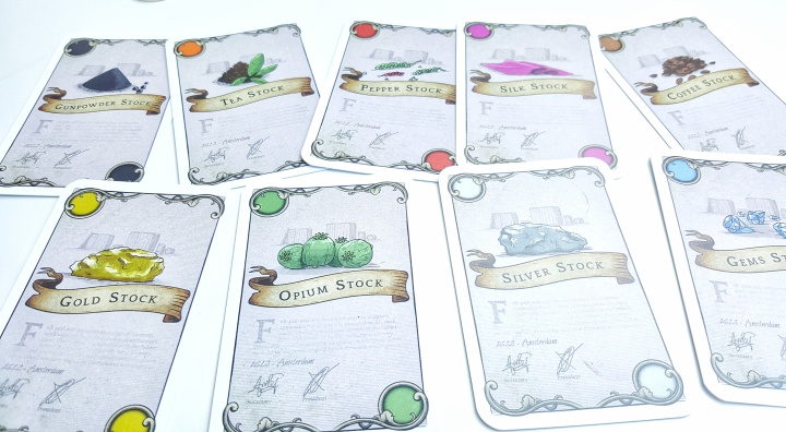 Stock cards with different goods Kickstarter preview of Chartered The Golden Age
