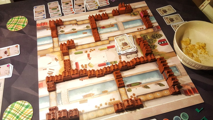Main board with the warehouses kickstarter preview of Chartered The Golden Age