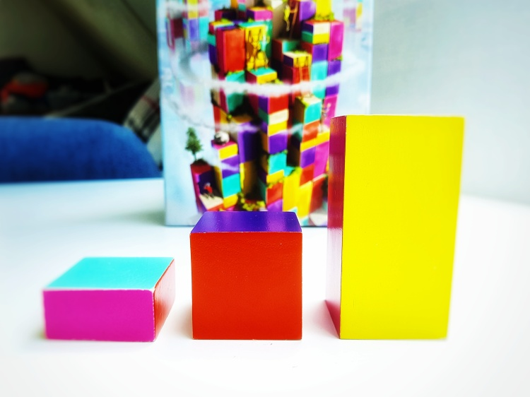 The Climbers by Capstone Games and Simply Complex blocks of wood in three heights