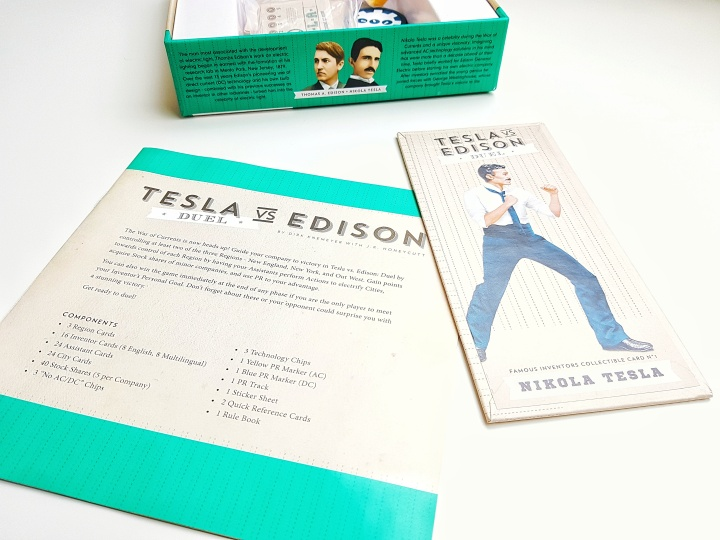 Rulebook, Player aid cards and main board from Tesla vs. Edison: Duel