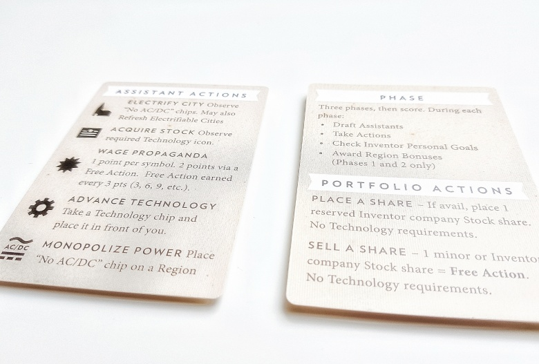 Player aid cards from Tesla vs. Edison: Duel