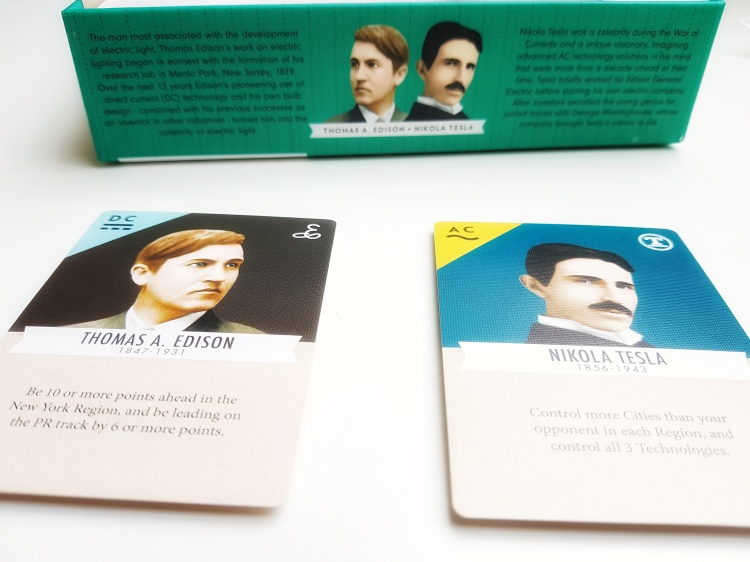 Thomas Edison and Nikola Tesla player cards from Tesla vs. Edison: Duel