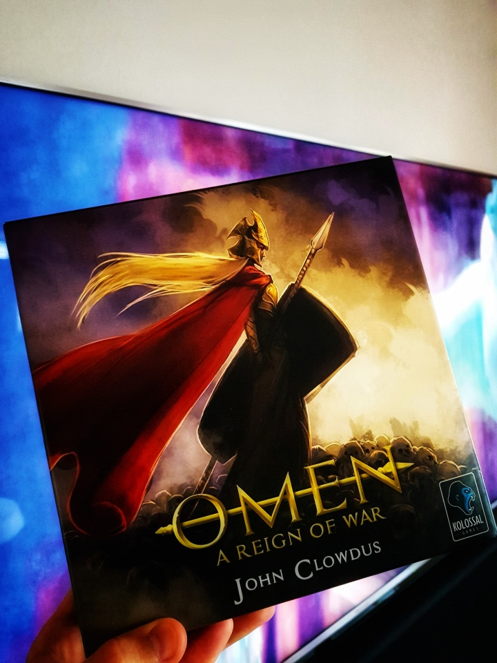 Kickstarter preview omen a reign of war beautiful artwork on the box cover from John CLowdus his amazing board game
