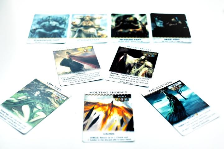 Kickstarter preview omen a reign of war cards and their artwork stand out