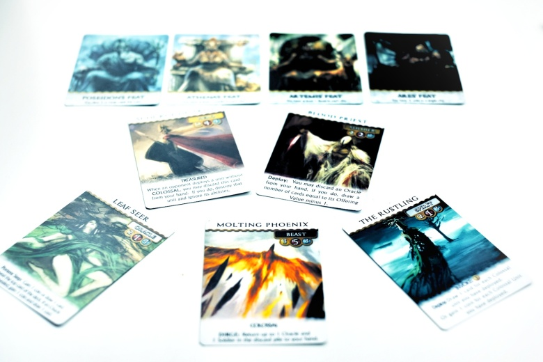 Kickstarter preview omen a reign of war cards and their artwork stand out