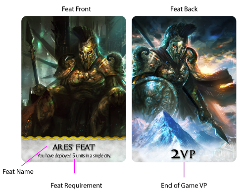 Kickstarter preview omen a reign of war feat cards and their artwork stand out and the feat card anatomy