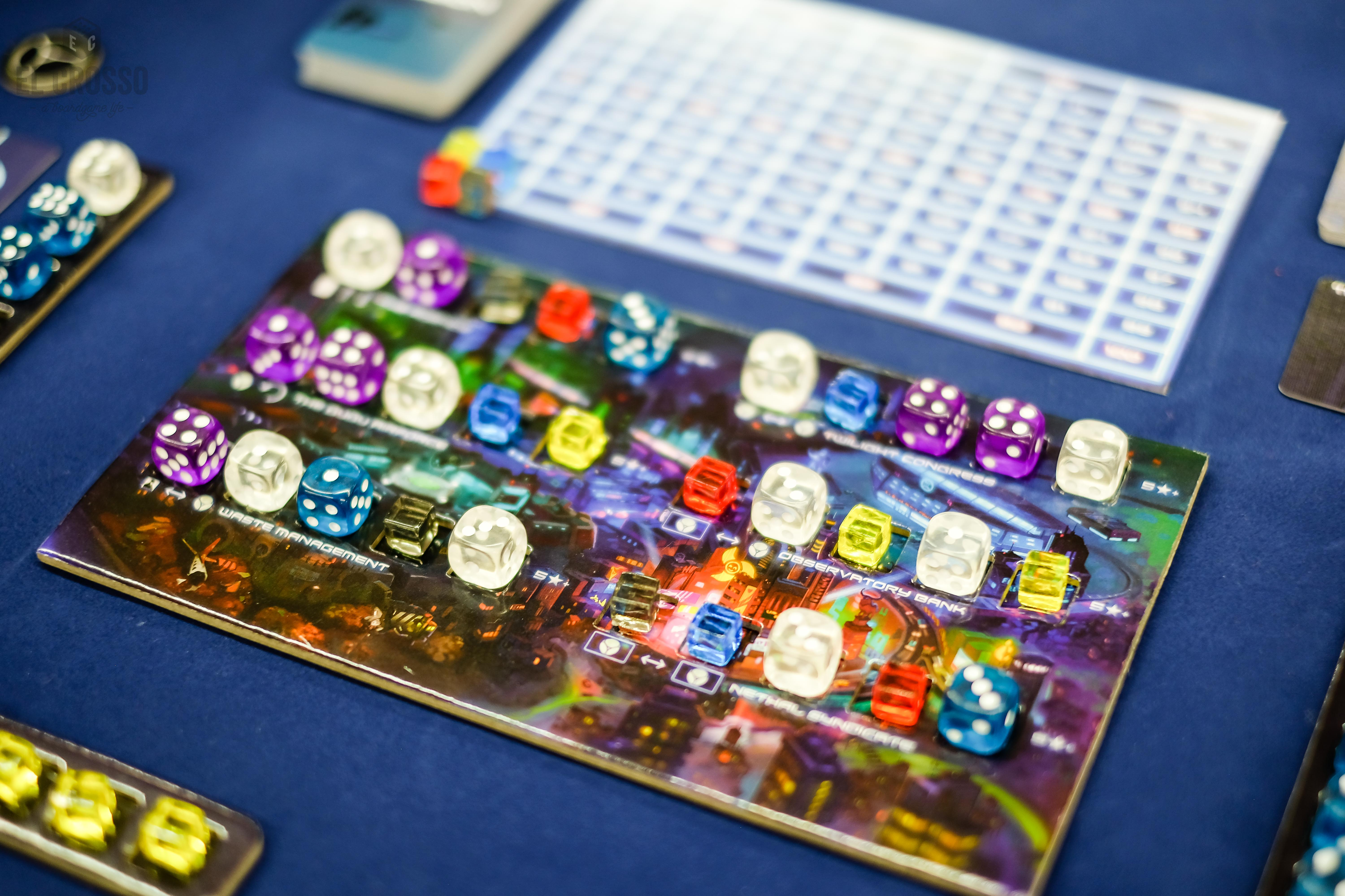 Spiel 2018 Dicetopia by All or None Games central board dice